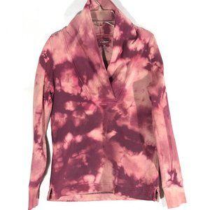 Lands End Acid Wash Shirt XS  Shawl Neck Tie Dye